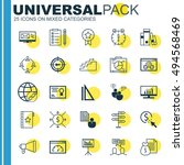 set of 25 universal icons on... | Shutterstock .eps vector #494568469