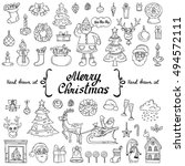 vector set with hand drawn... | Shutterstock .eps vector #494572111