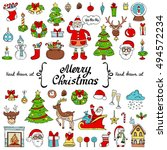 vector set with hand drawn... | Shutterstock .eps vector #494572234