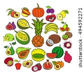 big fruits collection.... | Shutterstock .eps vector #494592271