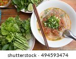 lao noodle curry soup  pho ... | Shutterstock . vector #494593474