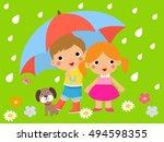 children and umbrella | Shutterstock .eps vector #494598355