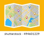 map with navigation. finding... | Shutterstock .eps vector #494601229
