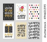 set of 6 cute creative cards... | Shutterstock .eps vector #494601595