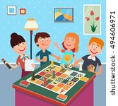 family playing board game.... | Shutterstock .eps vector #494606971