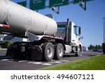 white big rig semi truck with... | Shutterstock . vector #494607121