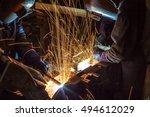 welder is welding steel... | Shutterstock . vector #494612029