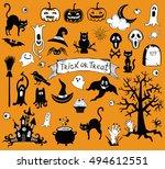 happy halloween designs set...   Shutterstock .eps vector #494612551