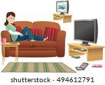 girl watching tv on sofa. | Shutterstock .eps vector #494612791