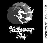 halloween  witch  hat  vector ... | Shutterstock .eps vector #494614345