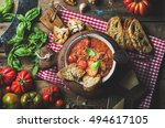 homemade italian roasted tomato ... | Shutterstock . vector #494617105