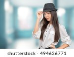 beautiful young woman wearing... | Shutterstock . vector #494626771