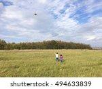 little kids flying a kite on... | Shutterstock . vector #494633839