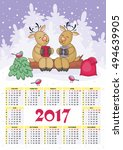 calendar for 2017 with the...   Shutterstock .eps vector #494639905