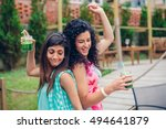 young women couple with healthy ... | Shutterstock . vector #494641879