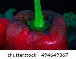 paprika with water drops on... | Shutterstock . vector #494649367