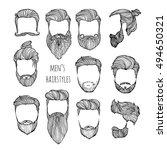 set of men's hairstyles ... | Shutterstock .eps vector #494650321