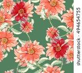 watercolor flowers  seamless... | Shutterstock . vector #494654755