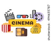 vector flat style set of old... | Shutterstock .eps vector #494655787