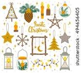 vector set of vintage christmas ... | Shutterstock .eps vector #494656405