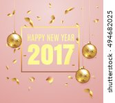 happy new year 2017 elegant... | Shutterstock .eps vector #494682025