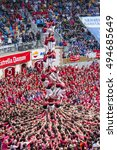 Small photo of TARRAGONA, SPAIN - OCTOBER 2016 - Those typical catalan human towers are performed. The XXVI Tarragona Human Tower Competition on October 2, 2016 in Tarragona, Spain.