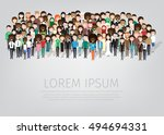 large group of different people.... | Shutterstock .eps vector #494694331