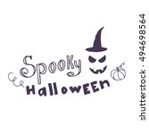 hand drawn card with scary face ... | Shutterstock .eps vector #494698564