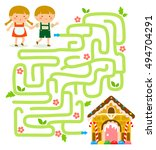 maze game. hansel and gretel... | Shutterstock . vector #494704291