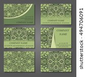 set of stylish business card... | Shutterstock .eps vector #494706091