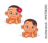 swarthy newborn baby boy and... | Shutterstock .eps vector #494708281