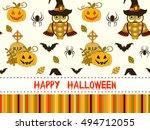 happy halloween pattern with... | Shutterstock .eps vector #494712055