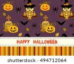 happy halloween pattern with... | Shutterstock .eps vector #494712064