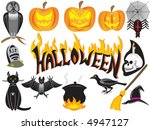 halloween symbols isolated over ... | Shutterstock .eps vector #4947127