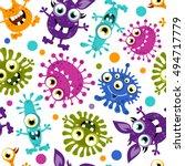 seamless pattern of cartoon...   Shutterstock .eps vector #494717779
