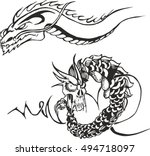 set of two black and white... | Shutterstock .eps vector #494718097