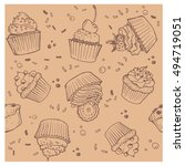 cake and muffins. seamless...   Shutterstock .eps vector #494719051