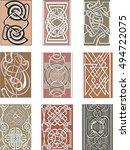 set of nine vertical knot...   Shutterstock .eps vector #494722075