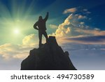 hiker with raised hand standing ... | Shutterstock . vector #494730589