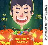 cute vampire  halloween post... | Shutterstock .eps vector #494732821