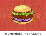 vector hand drawn pop art...   Shutterstock .eps vector #494733349