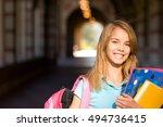 teenage schoolgirl with books... | Shutterstock . vector #494736415