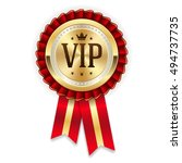 gold vip member rosette with... | Shutterstock .eps vector #494737735