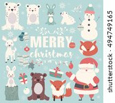 collection of christmas animals ... | Shutterstock .eps vector #494749165