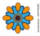 beautiful flower cute icon... | Shutterstock .eps vector #494749381