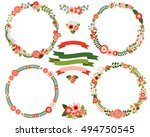 flower wreath borders in red... | Shutterstock .eps vector #494750545