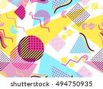 memphis seamless pattern.... | Shutterstock .eps vector #494750935