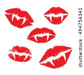 vampire lips and fangs icon set | Shutterstock .eps vector #494756341