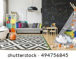 spacious black and white child... | Shutterstock . vector #494756845