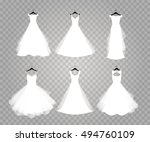 wedding dresses on transparent... | Shutterstock .eps vector #494760109
